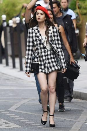 How to Dress like you are Emily in Paris Lily Collins Parisian look how ro dress guide looks blazers dresses tweed plaid 3