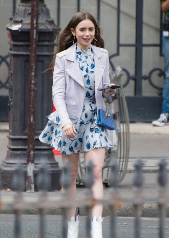 How to Dress like you are Emily in Paris Lily Collins Parisian look how ro dress guide looks blazers dresses tweed plaid 6