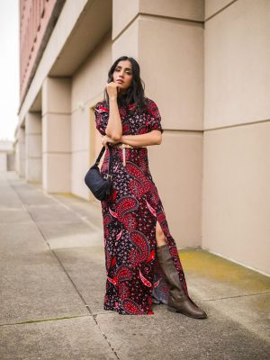 How to Style Fall Dress | Styling 101 Tips faiza inam sincerelyhumble red dress fall dress 1