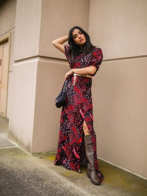 How to Style Fall Dress   Styling 101 Tips faiza inam sincerelyhumble red dress fall dress 3