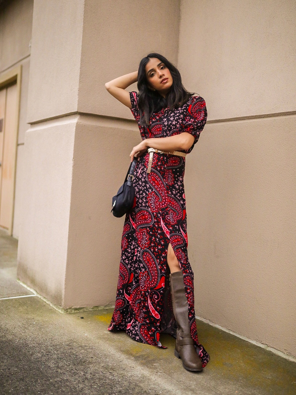 How to Style Fall Dress | Styling 101 Tips faiza inam sincerelyhumble red dress fall dress 3