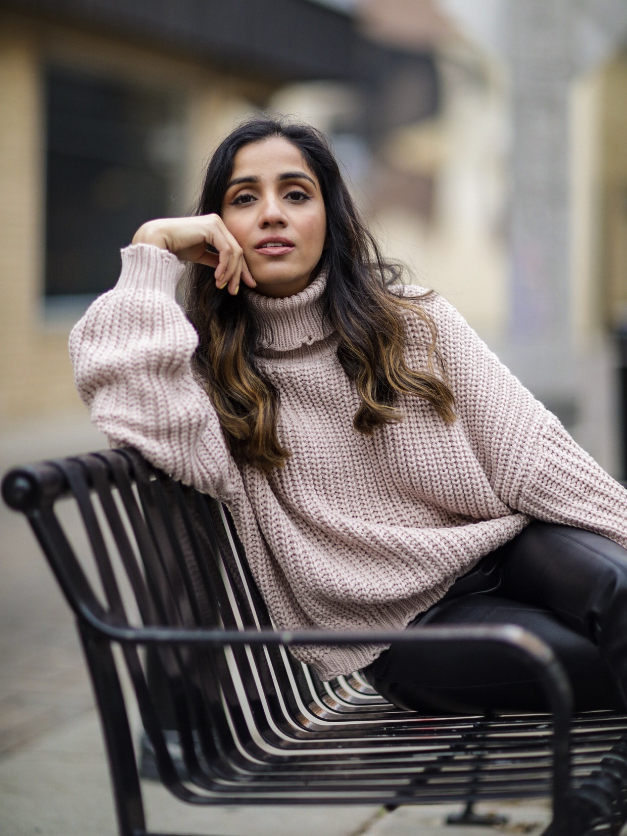 Faiza Inam chunky sweater leather pants 4