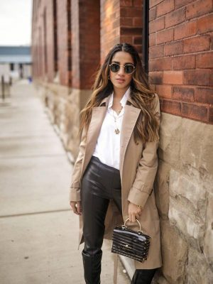 How To Style Leather Leggings This Season Faiza Inam spanx leather look sincerely humble 2020 look 1