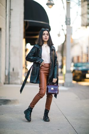 How To Style Leather Leggings This Season Faiza Inam spanx leather look sincerely humble 2020 look 2