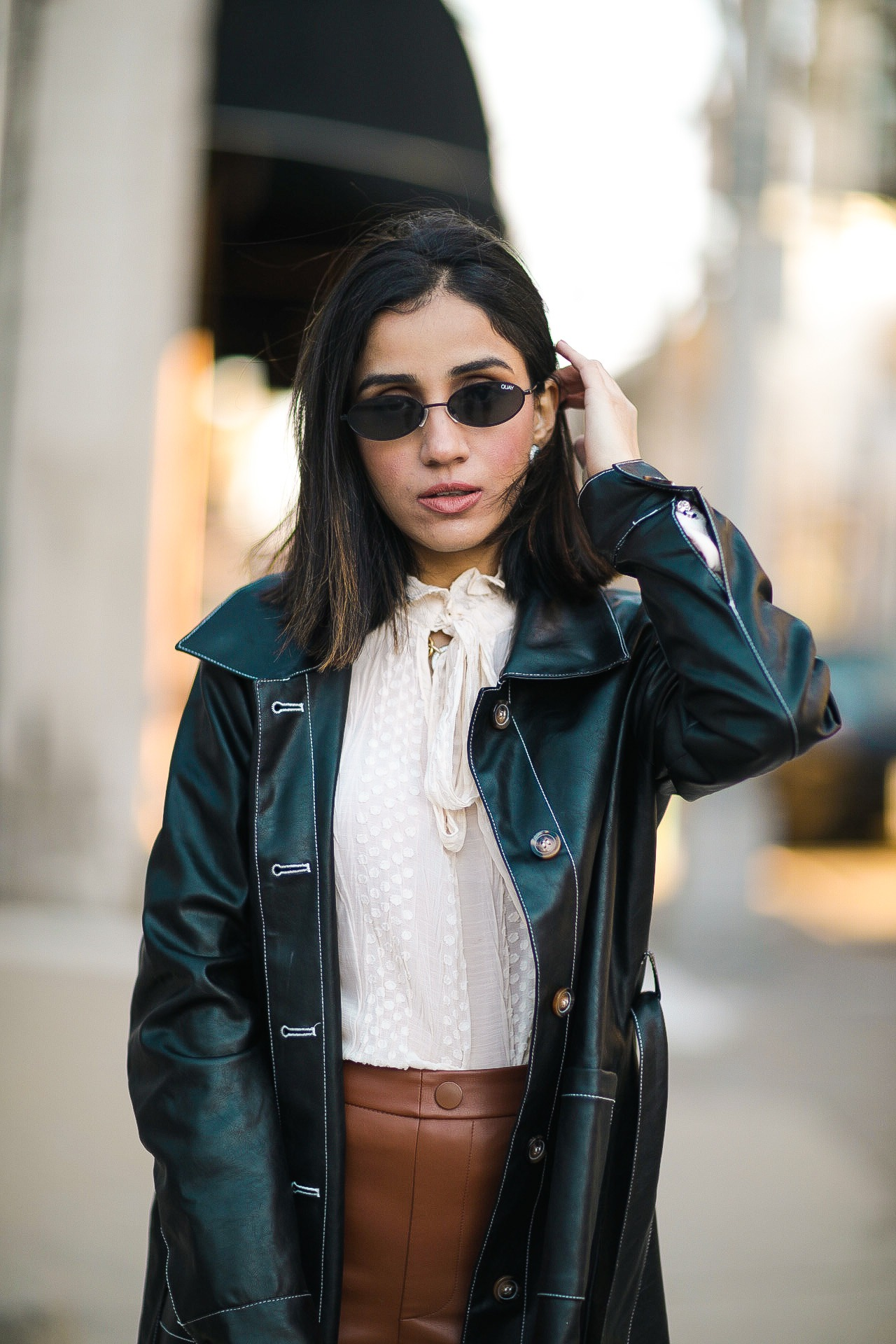 How To Style Leather Leggings This Season Faiza Inam spanx leather look sincerely humble 2020 look 3