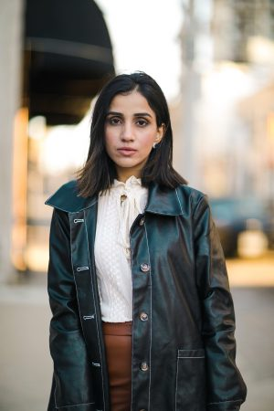 How To Style Leather Leggings This Season Faiza Inam spanx leather look sincerely humble 2020 look 4
