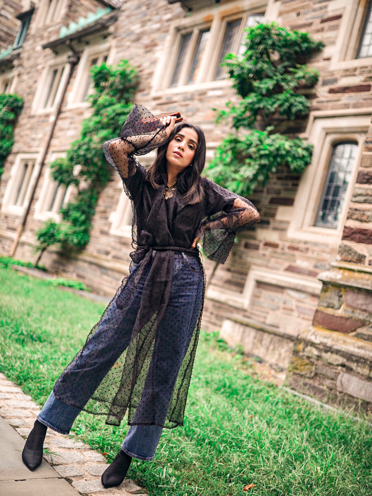 How to Wear Puff Sleeves in Fall 1 sheer puff sleeve trench cota faiza inam how to style tips 101 1