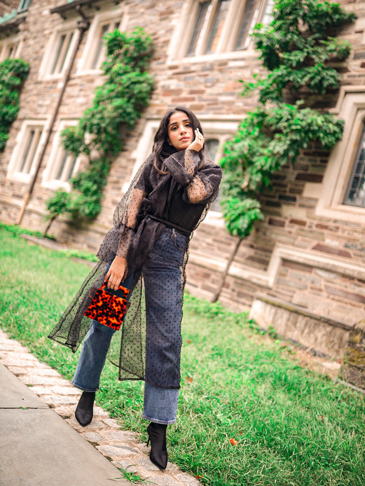 How to Wear Puff Sleeves in Fall 1 sheer puff sleeve trench cota faiza inam how to style tips 101 2