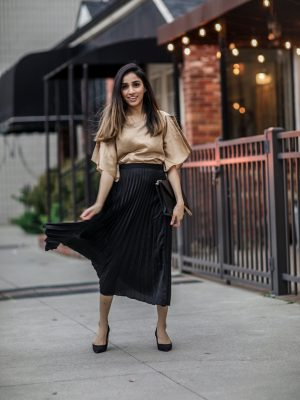 What to Wear at Thanksgiving Family Dinner pleated skirt black silk blouse 2