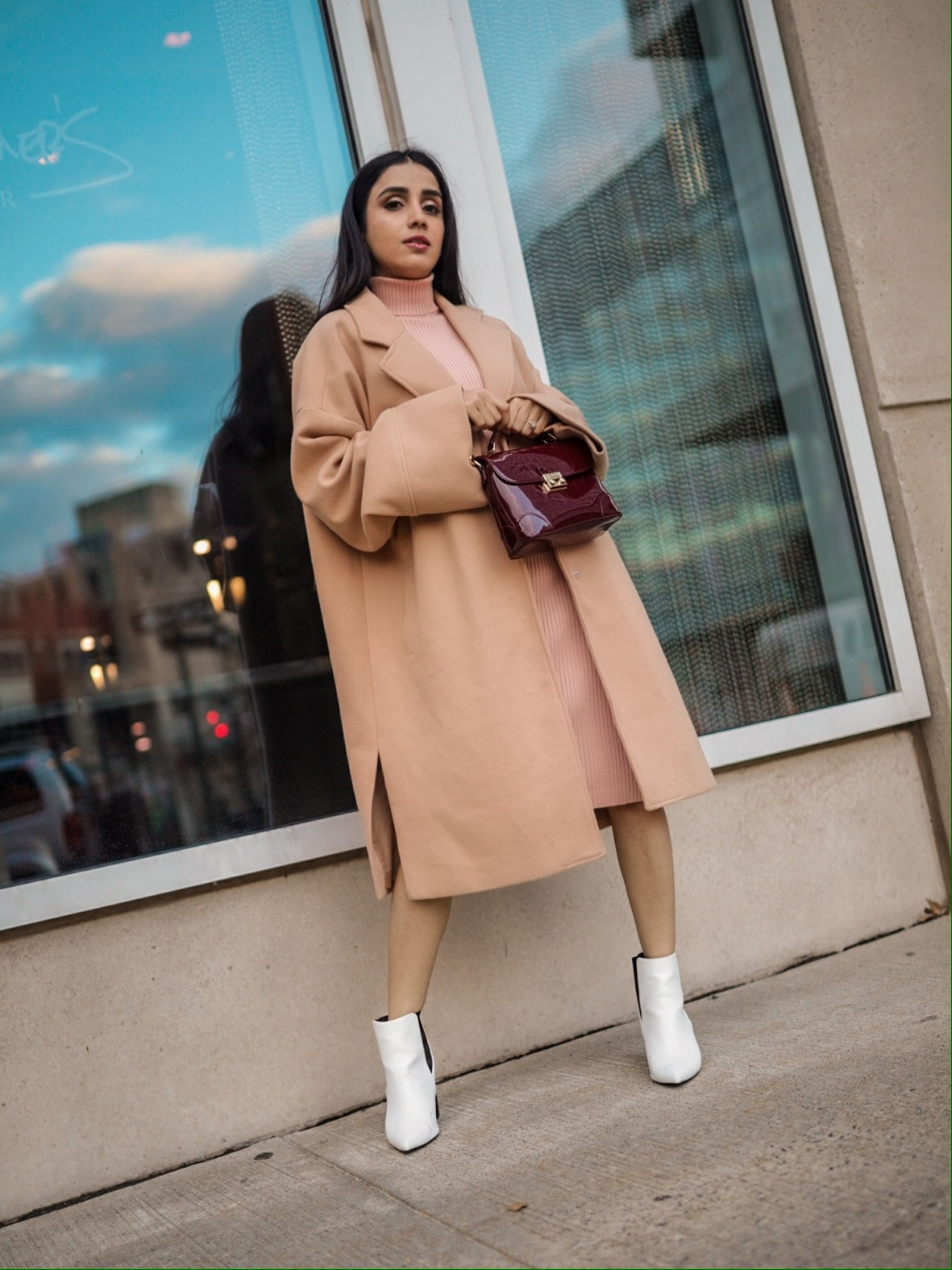 The Trendiest Winter Staples You Didn't Know You Needed Faiza Inam sincerelyhumble wintet cold style staples look sweater dress 3