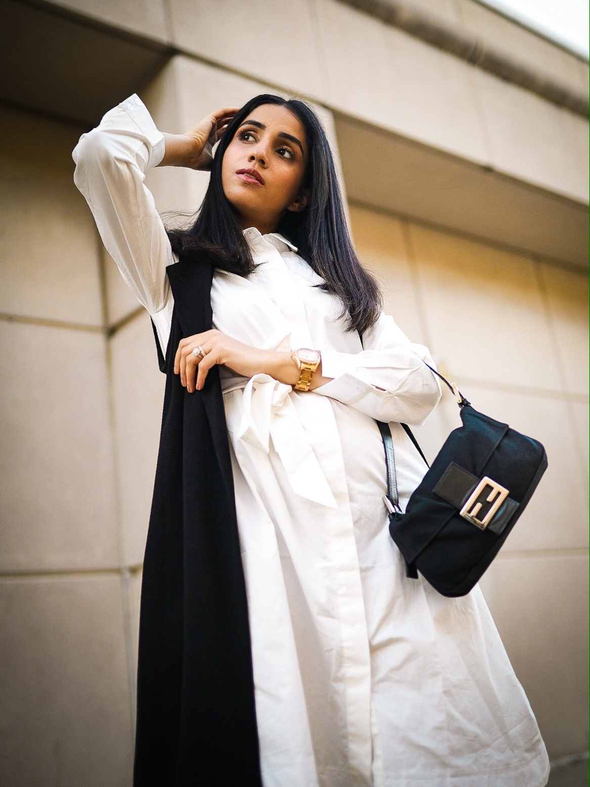 5 Winter Basics Everyone Should Have in Their Closet Faiza Inam cold weater basics must have 5 Winter Basics slouchy boots shirt dress 6