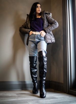 5 Winter Basics Everyone Should Have in Their Closet Faiza Inam cold weater basics must have high knee boots 4