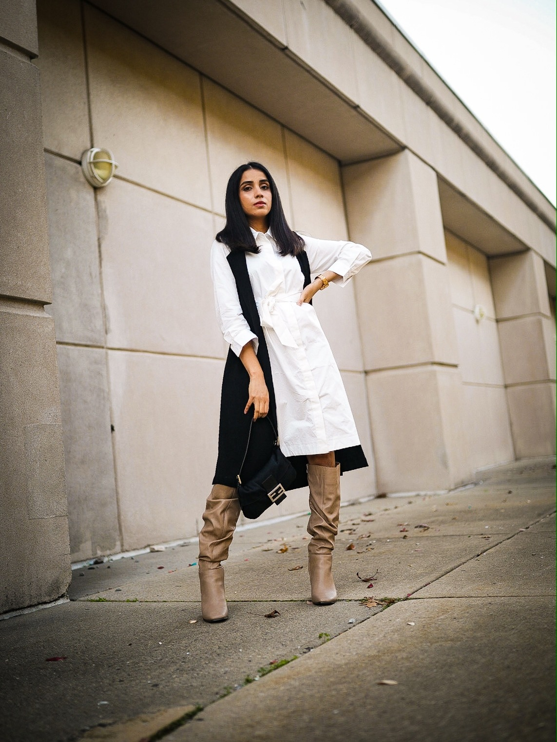 5 Winter Basics Everyone Should Have in Their Closet Faiza Inam cold weater basics must have slouchy boots shirt dress 5