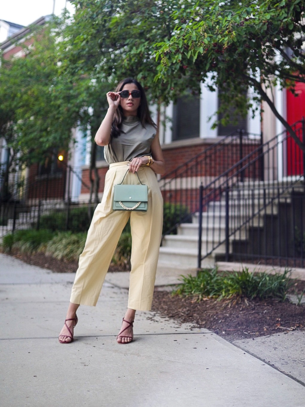 Under $50 Trends That Won't Disappoint This Summer army green yellow combination color street style faiza inam pinterest summer look 3